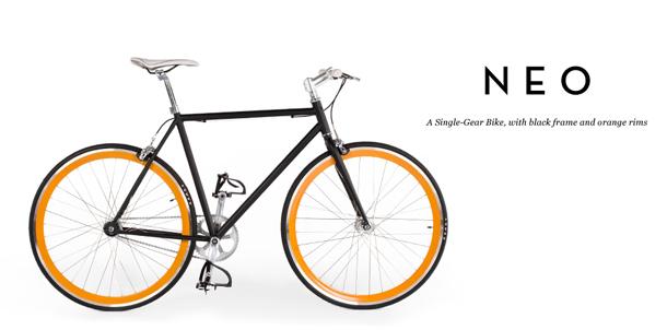 neo-single-gear-bike-black-  Neo Bike Collection by MADE neo single gear bike black frame orange rims main